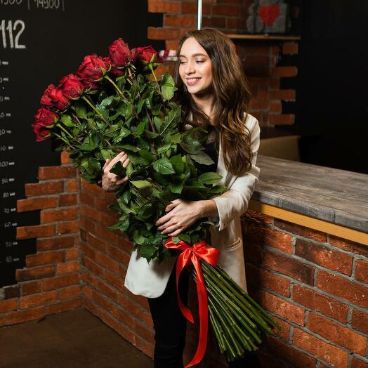 55 Красных роз Эквадор 80 см