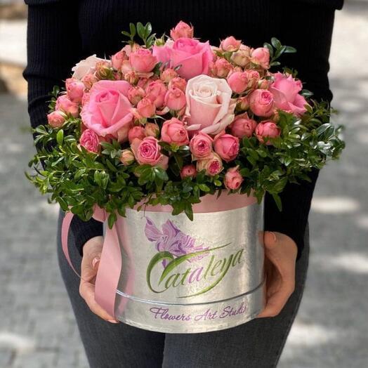 Box of roses and bush roses