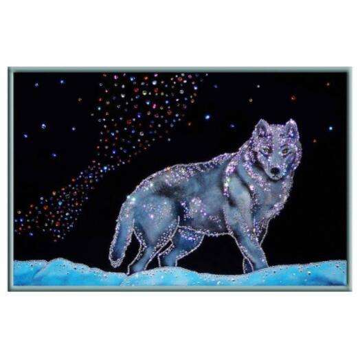 """Картина с кристаллами Swarovski """"Северный волк"""""""