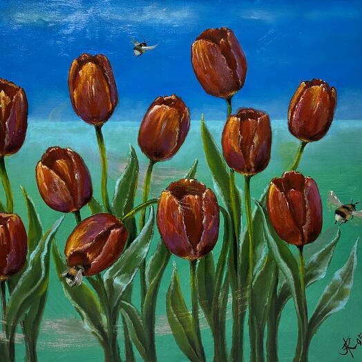 """Картина """"Тюльпаны со шмелями"""" 70*60 см. масло, холст"""