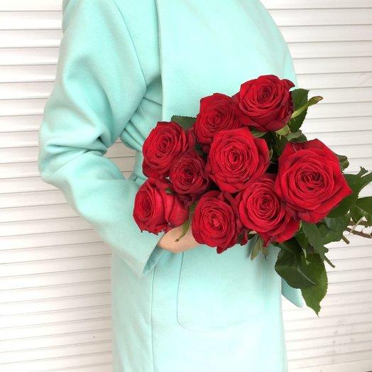 Букет из 9 красных роз 50 см: букеты цветов на заказ Flowwow