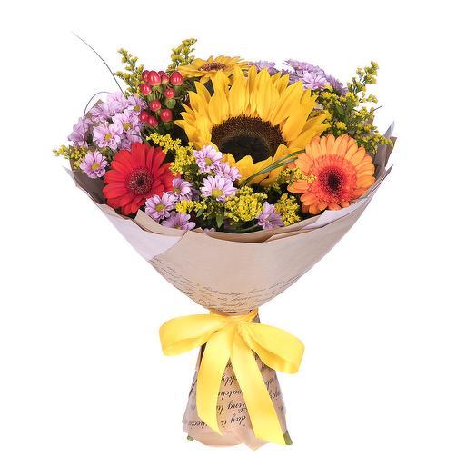 Яркий букет с подсолнухом: букеты цветов на заказ Flowwow