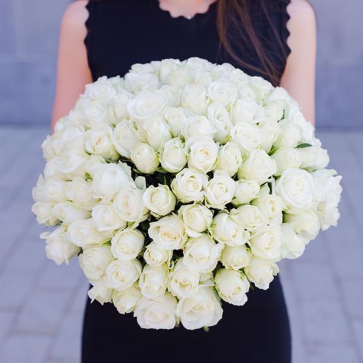 """Букет """"101 Белая Роза"""": букеты цветов на заказ Flowwow"""