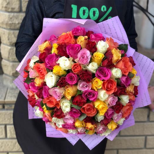 Букет из 101 розы яркий: букеты цветов на заказ Flowwow