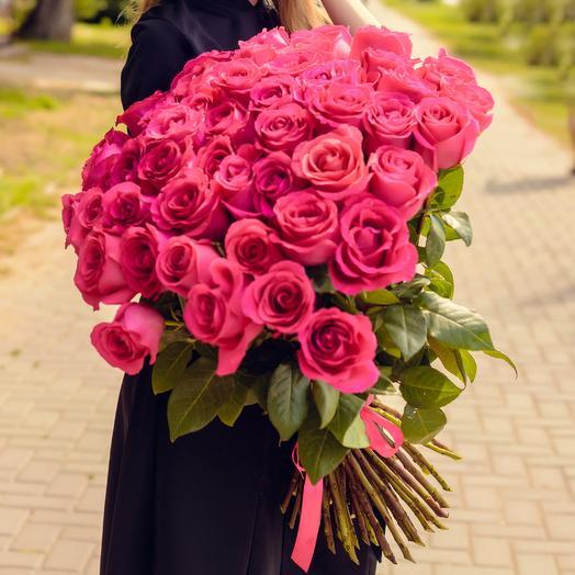 Букет из 51 розовой розы Премиум