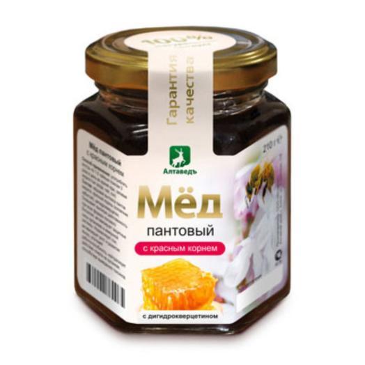 Пантовый мёд с красным корнем и дигидрокверцетином Алтаведъ, 210г
