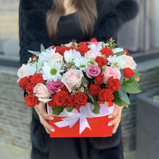 Box of Chrysanthemums and Roses