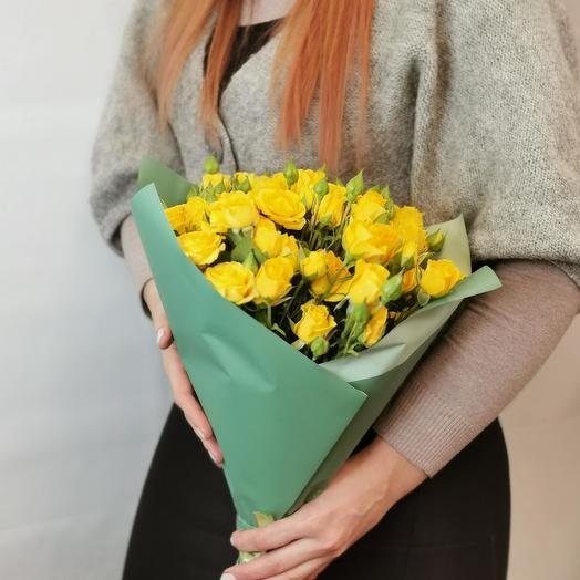"""Букет """"Лимончелло 15"""" из желтых кустовых роз"""