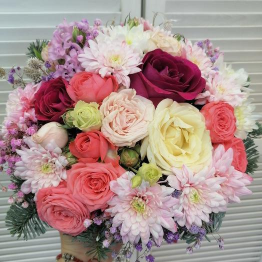 """Цветы в коробке""""ароматный микс"""""""