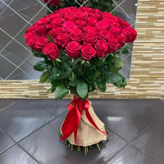 Букет из красных роз 80см
