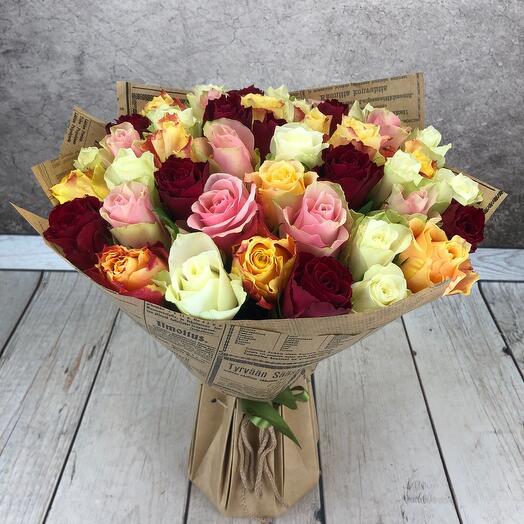 Букет из 45 роз  (кения)в аквабоксе