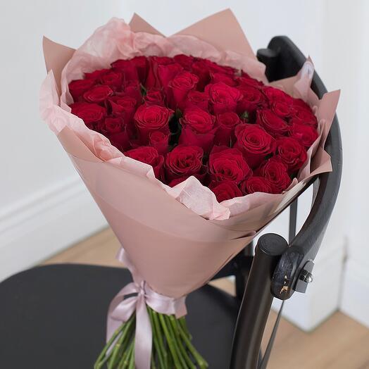 Букет из 51 розы Кения 40см