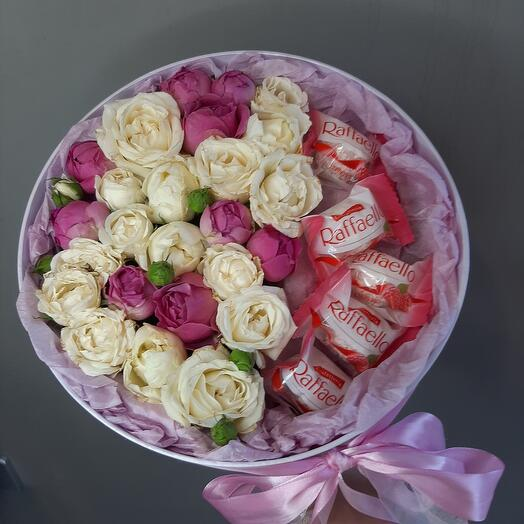 Коробка с Розой и раффаэлло