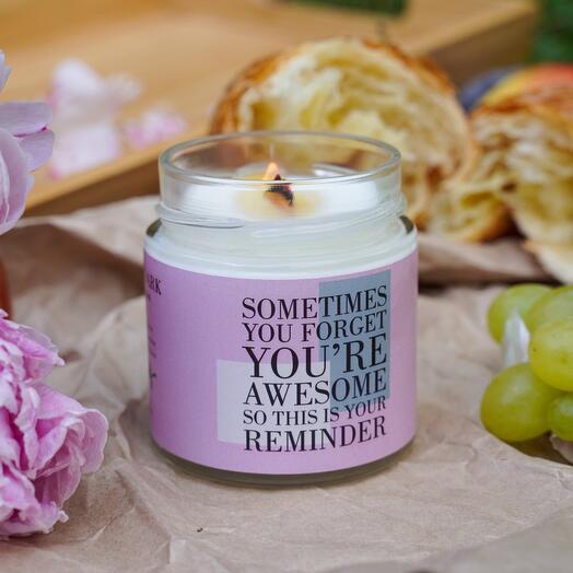 Аромасвеча «Sometimes you forget | морская соль, орхидея, ваниль, бобы тонка» с деревянным фитилем + длинные спички, 200мл