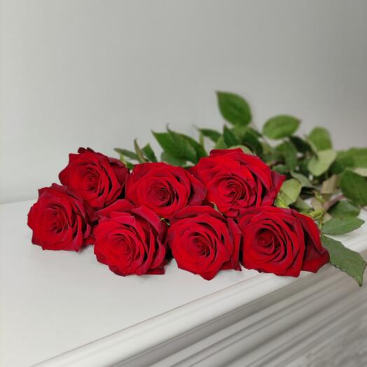 7 алых роз 70 см