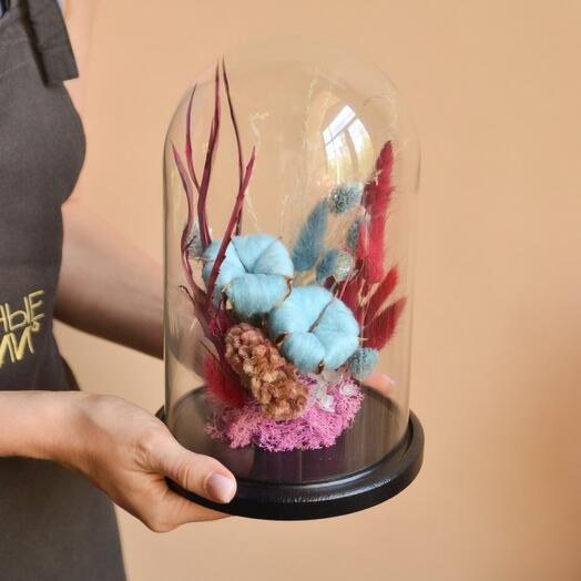Сухоцветы под стеклянным куполом