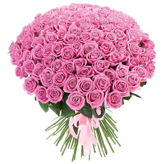 Букет из 101 розовой розы Пинк: букеты цветов на заказ Flowwow