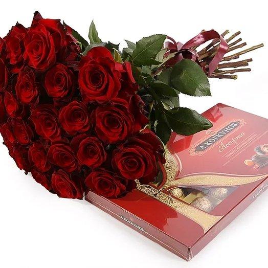 Набор 35 красных роз и Коркунов 200 гр