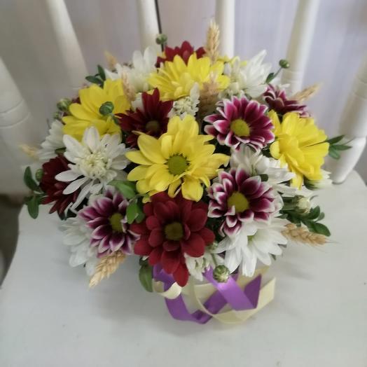 Летняя композиция в деревянном ящичке: букеты цветов на заказ Flowwow