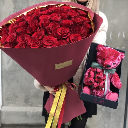 Букет из 51 розы и игрушка: букеты цветов на заказ Flowwow