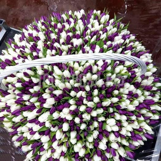 Тюльпаны микс 1001 шт в корзине: букеты цветов на заказ Flowwow