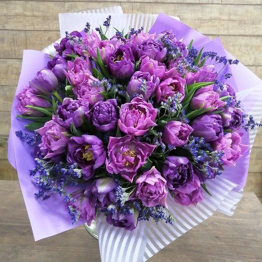 Стильный букет пионовидных тюльпанов: букеты цветов на заказ Flowwow