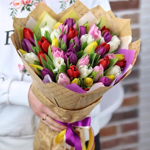 Букет из 49 тюльпанов (микс). N682: букеты цветов на заказ Flowwow