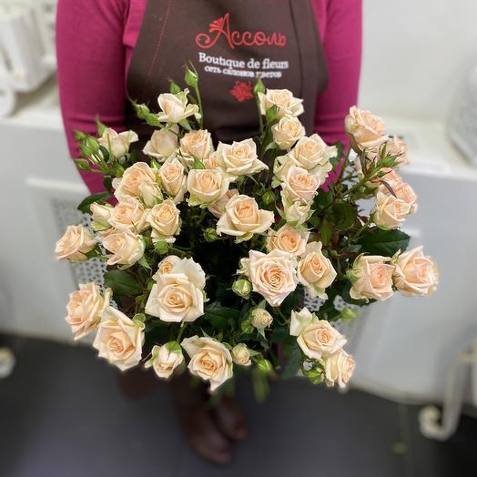 5 кремовых кустовых роз