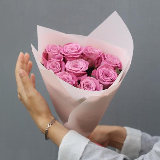 Tenderness. Frosted bouquet of 9 Pink roses