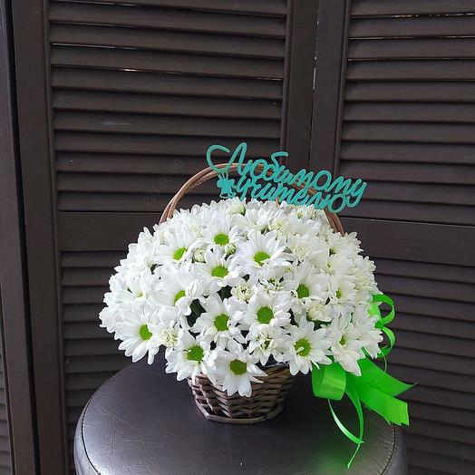 Кустовая хризантема в корзине