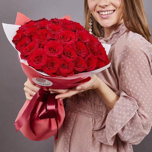 35 красных роз супер-премиум