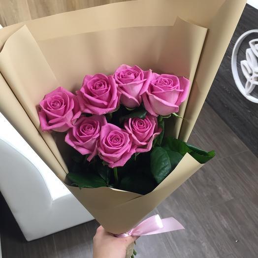 7 Розовых роз 60см