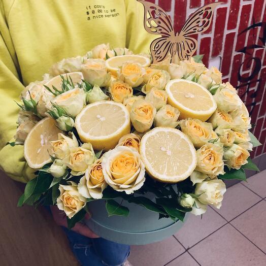 Шляпная Коробка «Лимонная роза»