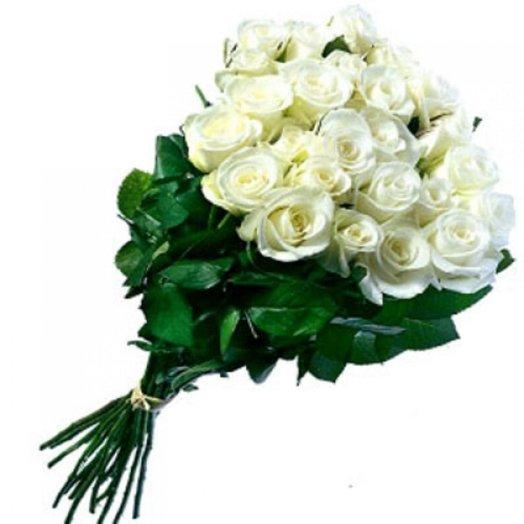 25 белых роз 60 см: букеты цветов на заказ Flowwow