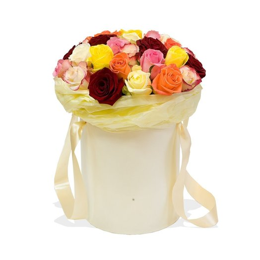 Розы в шляпной коробке Skittles (31 роза): букеты цветов на заказ Flowwow