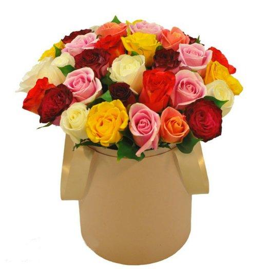 "Шляпная коробка ""35 роз микс"": букеты цветов на заказ Flowwow"