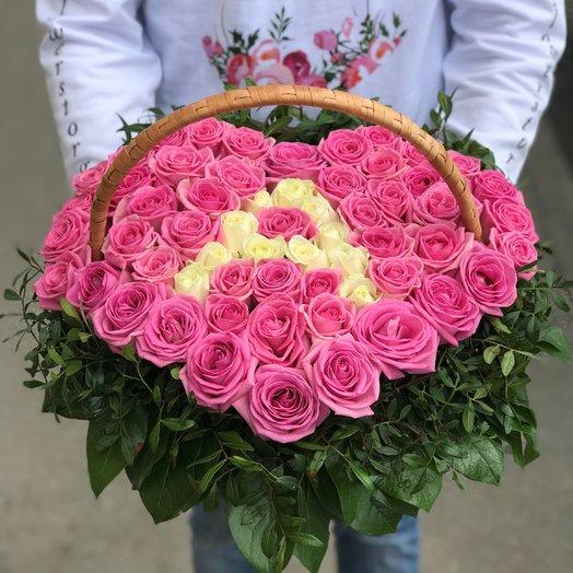 Корзины с цветами. Розы. Сердце из роз. 51 роза. С буквой. N189