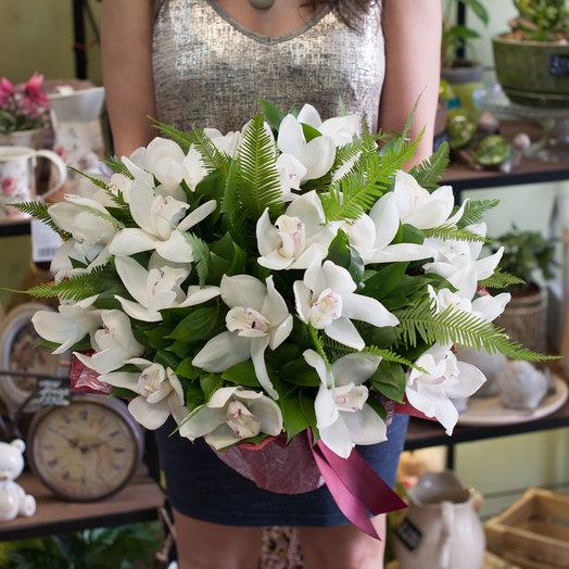 Букет из белых орхидей Белый шоколад