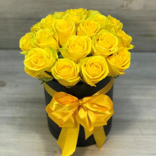Коробки с цветами. Желтая роза. 19 шт. N265: букеты цветов на заказ Flowwow