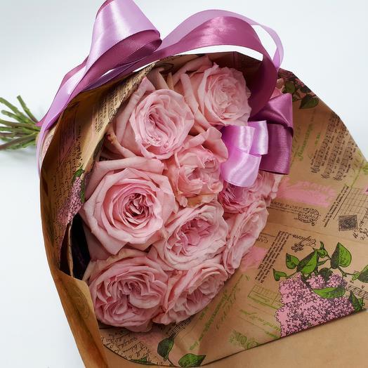 11 пионовидных роз в крафте: букеты цветов на заказ Flowwow