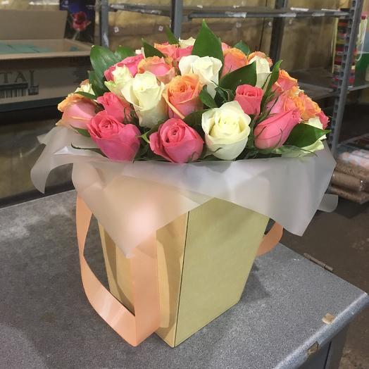 Коробка с розами))): букеты цветов на заказ Flowwow
