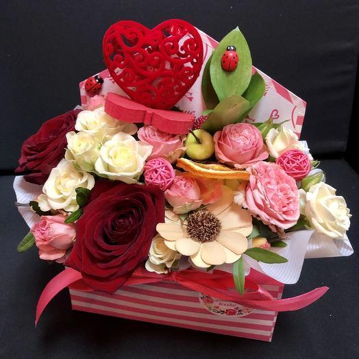 Конверт «Сердце»: букеты цветов на заказ Flowwow