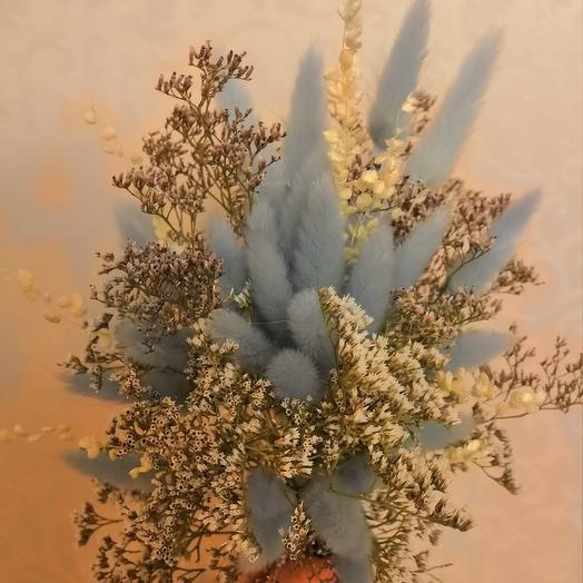 Мини-букетик из лагуруса и лимониума: букеты цветов на заказ Flowwow