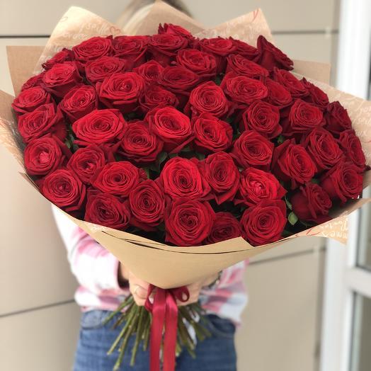 51 роза Прелесть 60 см: букеты цветов на заказ Flowwow
