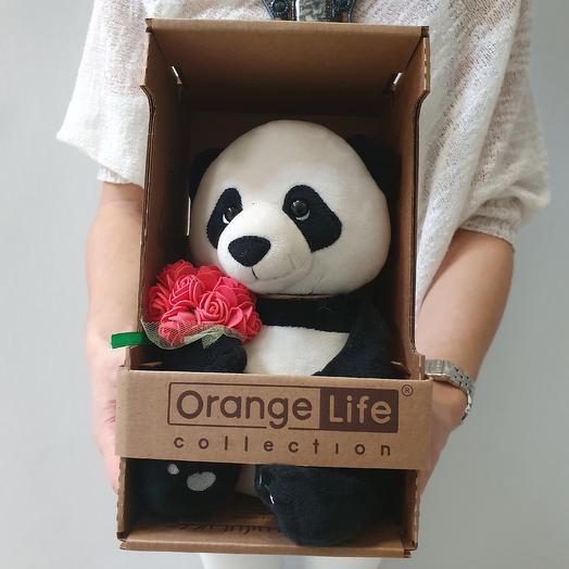 Панда с букетом роз: букеты цветов на заказ Flowwow