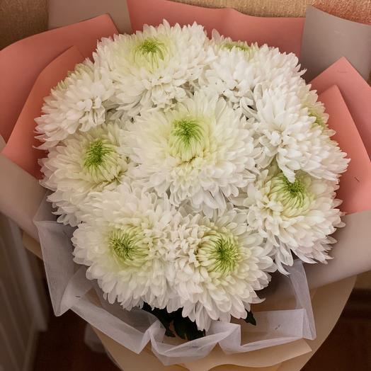 9 белых одноголовых хризантем в упаковке