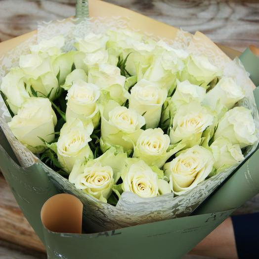 Букет из Белой Кенийской Розы