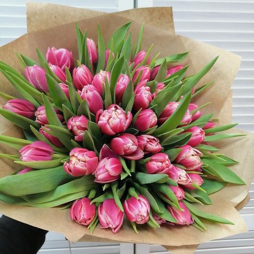 51 пионовидный тюльпан в крафте 💕