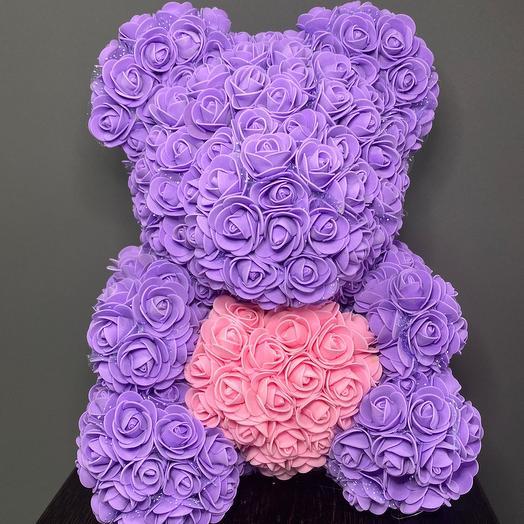 Мишка из роз с сердцем (в ассортименте)