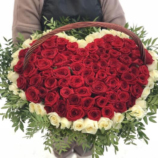 """101 голландская роза в корзине """"Сердце"""""""
